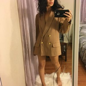 vintage tan and gold oversized wool blazer